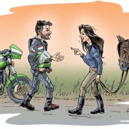 Faire-part de mariage, cavalière motard