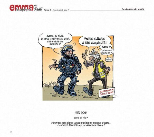 Intérieur du tome 8 d'Emma la cigogne : Dessin de Presse