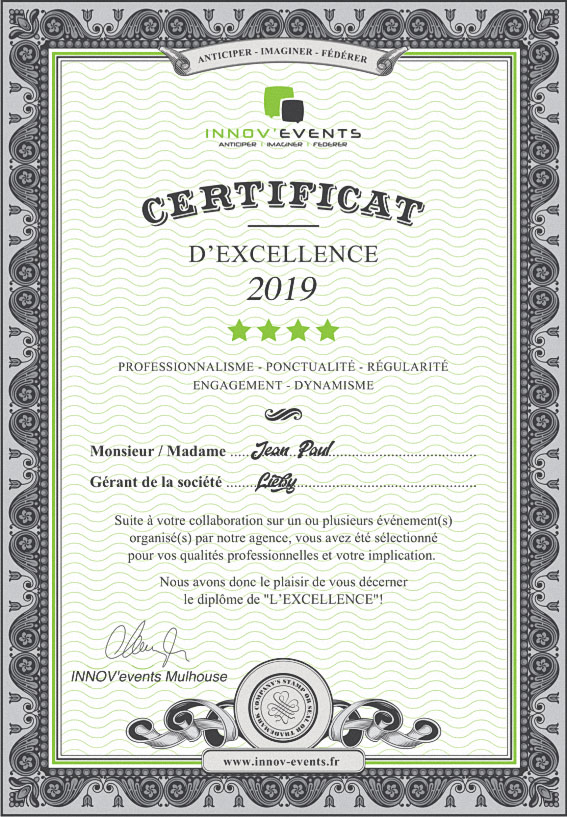 Diplôme Excellence Champol, Innov-Events 2019
