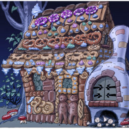 Décors de théâtre, maison de Hans et Gretel